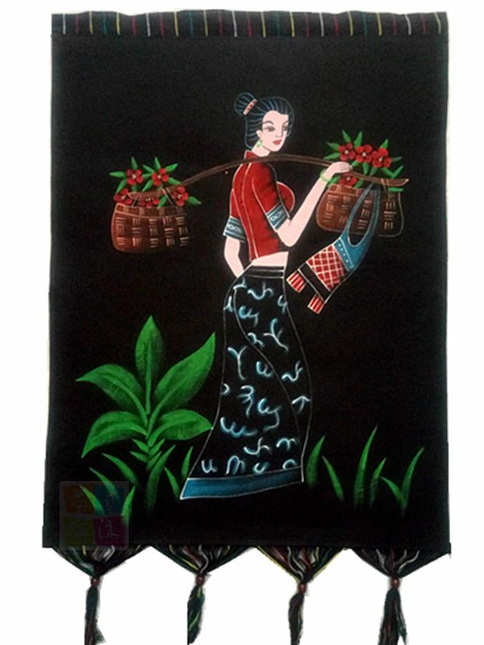 贵州民族手工艺品酒楼蜡染装饰重彩画安顺餐厅手绘壁挂72X53cm