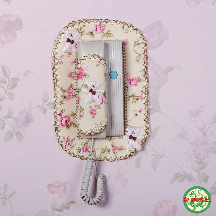 门铃套可视电话装饰贴蕾丝室外对讲机防尘罩子布艺室内挂机门铃罩