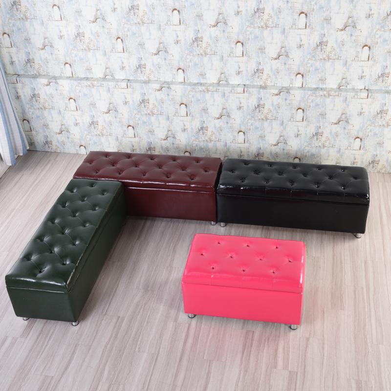 黑色皮时尚换鞋凳服装店理发店用长休息椅沙发凳子三人座