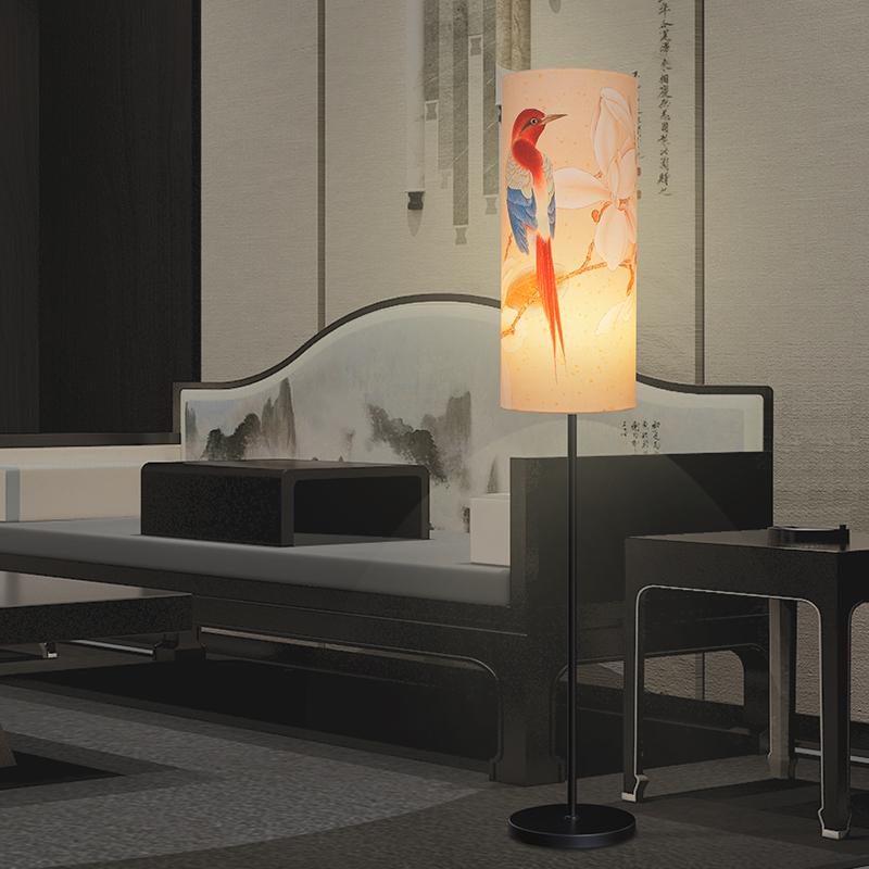 床头立式台灯 LED 新中式落地灯卧室简约创意复古书房客厅