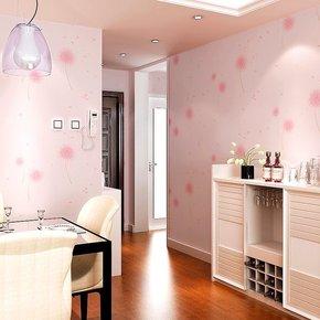 韩式田园主卧淡紫色蒲公英无纺布墙纸 浪漫温馨客厅卧室粉色壁纸