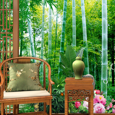 客厅3d立体墙纸电视背景墙壁纸影视无缝墙布大型壁画自然风景竹子网上商城