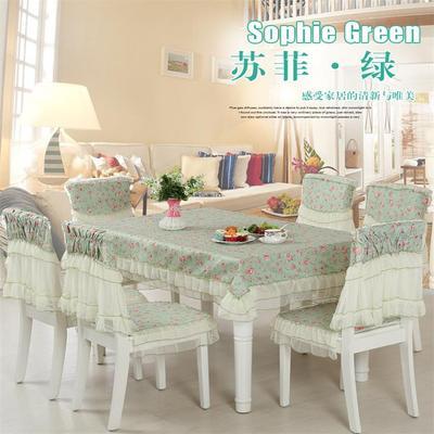 餐桌布椅套椅垫套装餐椅垫布艺田园长桌布家用6靠6垫谁买过的说说