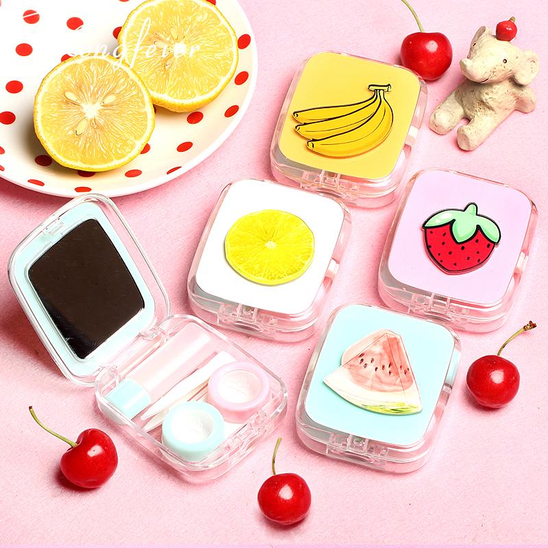 【拍1发2】可爱小清新水果西瓜卡通隐形眼镜近视伴侣盒美瞳双联盒