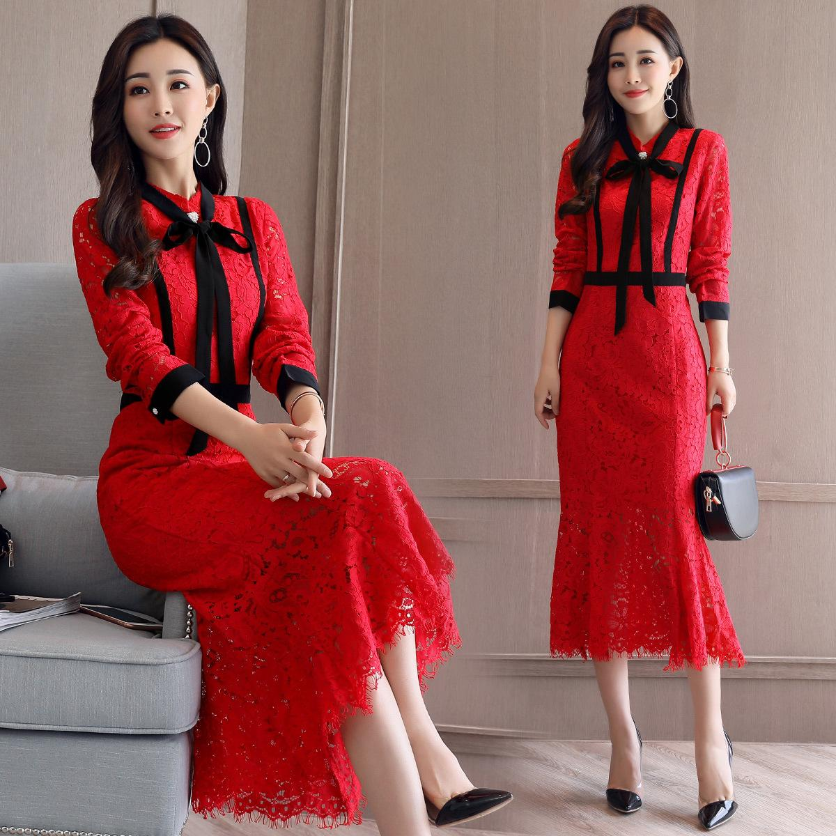 2018 Korean version of the new autumn high waist lace long ins super fire clothing