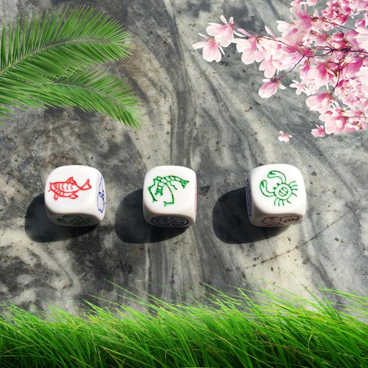 一套包邮大筛子3个鱼虾蟹色子骰子加图纸套装葫芦金铜钱娱乐赌具