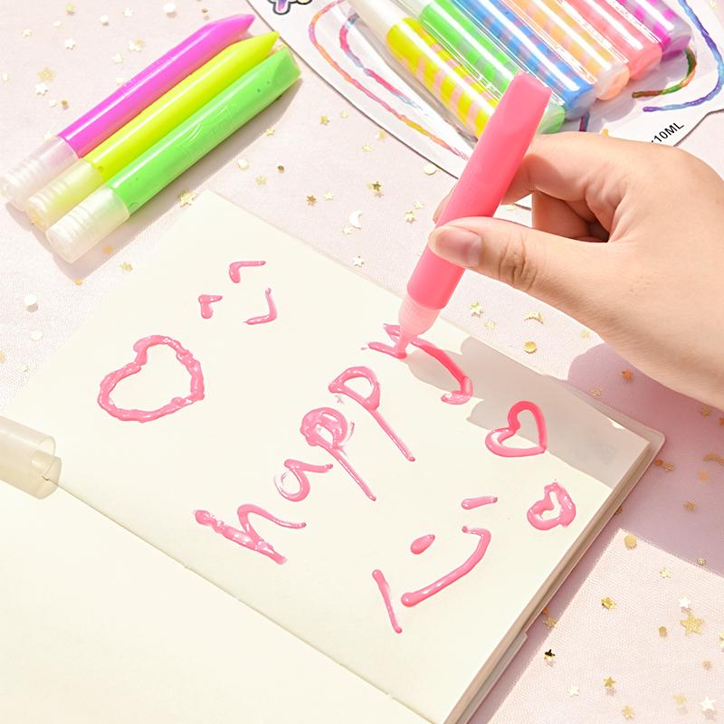 清让 小学生创意笔夜光涂鸦超亮多功能立体彩绘泡泡笔儿童果冻笔