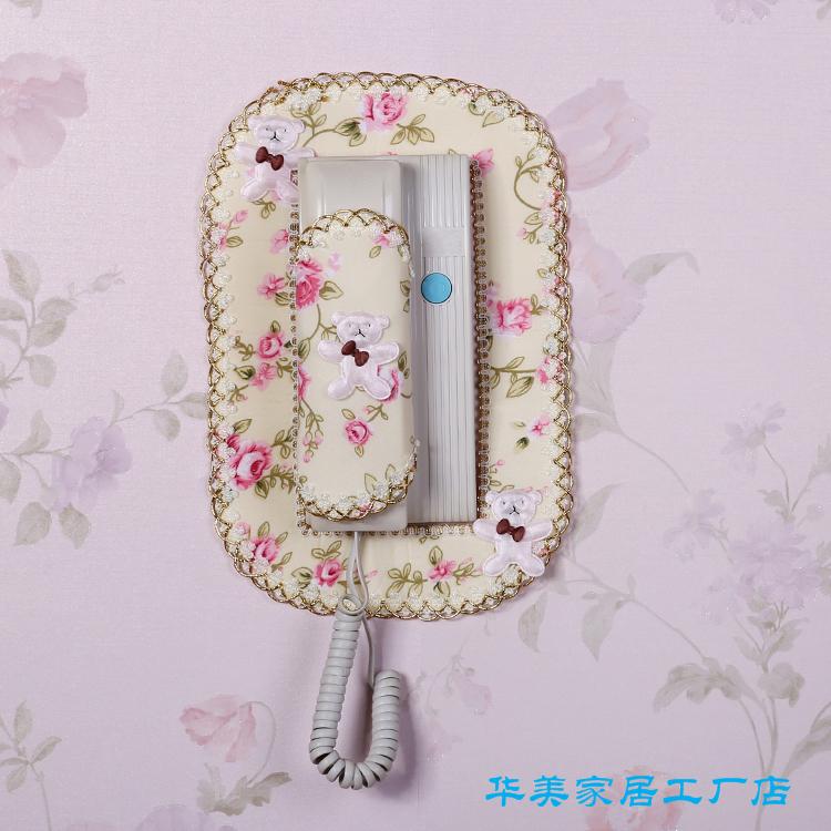 门铃套包邮蕾丝布艺楼宇对讲室内机套子可视电话挂机防尘罩装饰贴