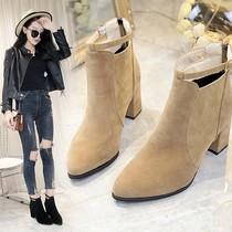 欧版新高跟马丁靴女靴子短靴短筒休闲磨砂尖头粗跟女鞋纯色百搭17