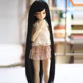 黑色 娃娃 斜刘海 假发 BJDSD 长直发可盘发可13 blythe 见描述d图片