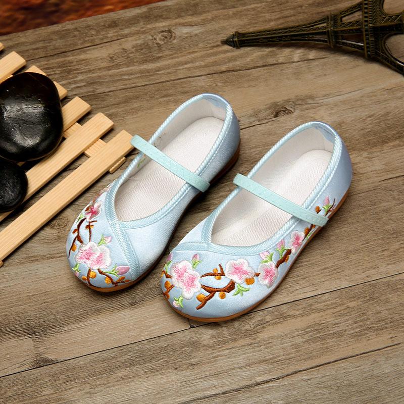 女童民族风红色布鞋小女孩绣花鞋子春夏软底单鞋幼儿园学生儿童鞋