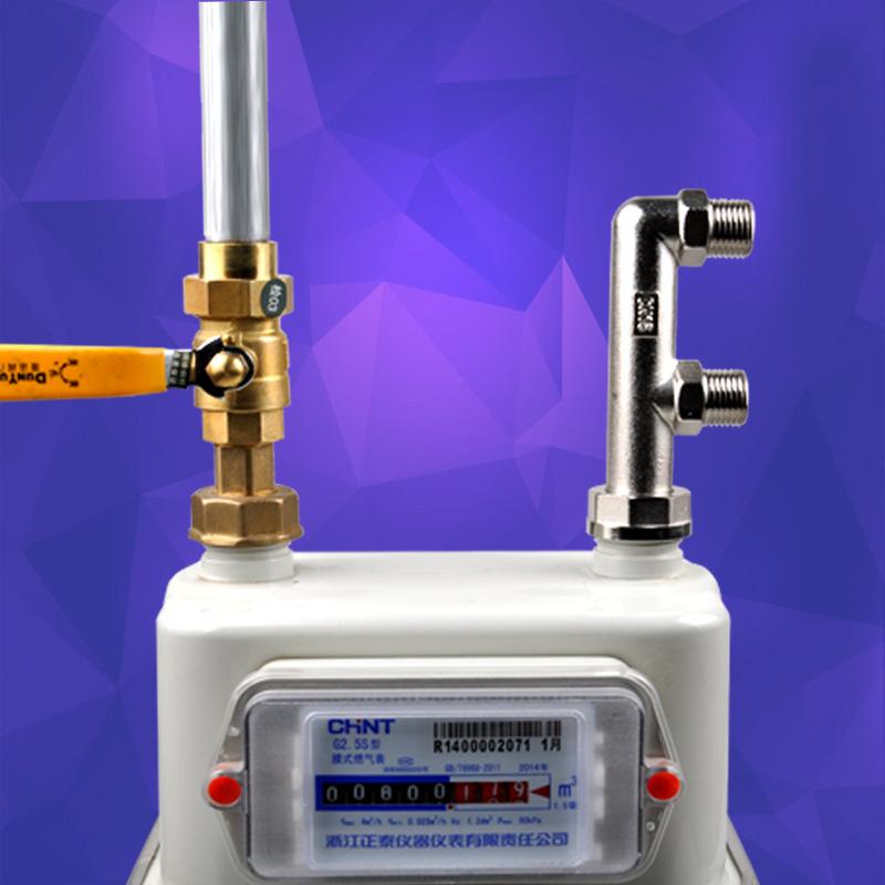 燃气表F型三通煤气表出气口分路接头M30内丝活三通转4分外丝
