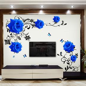玫瑰中式装饰品自粘墙贴画温馨电视贴纸房间卧室客厅墙画墙纸创意