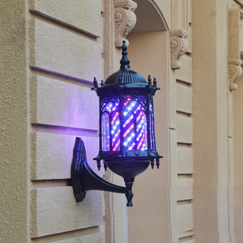 美容美发理发店转灯LED全彩挂壁圆复古发廊防水式用品门口小标志