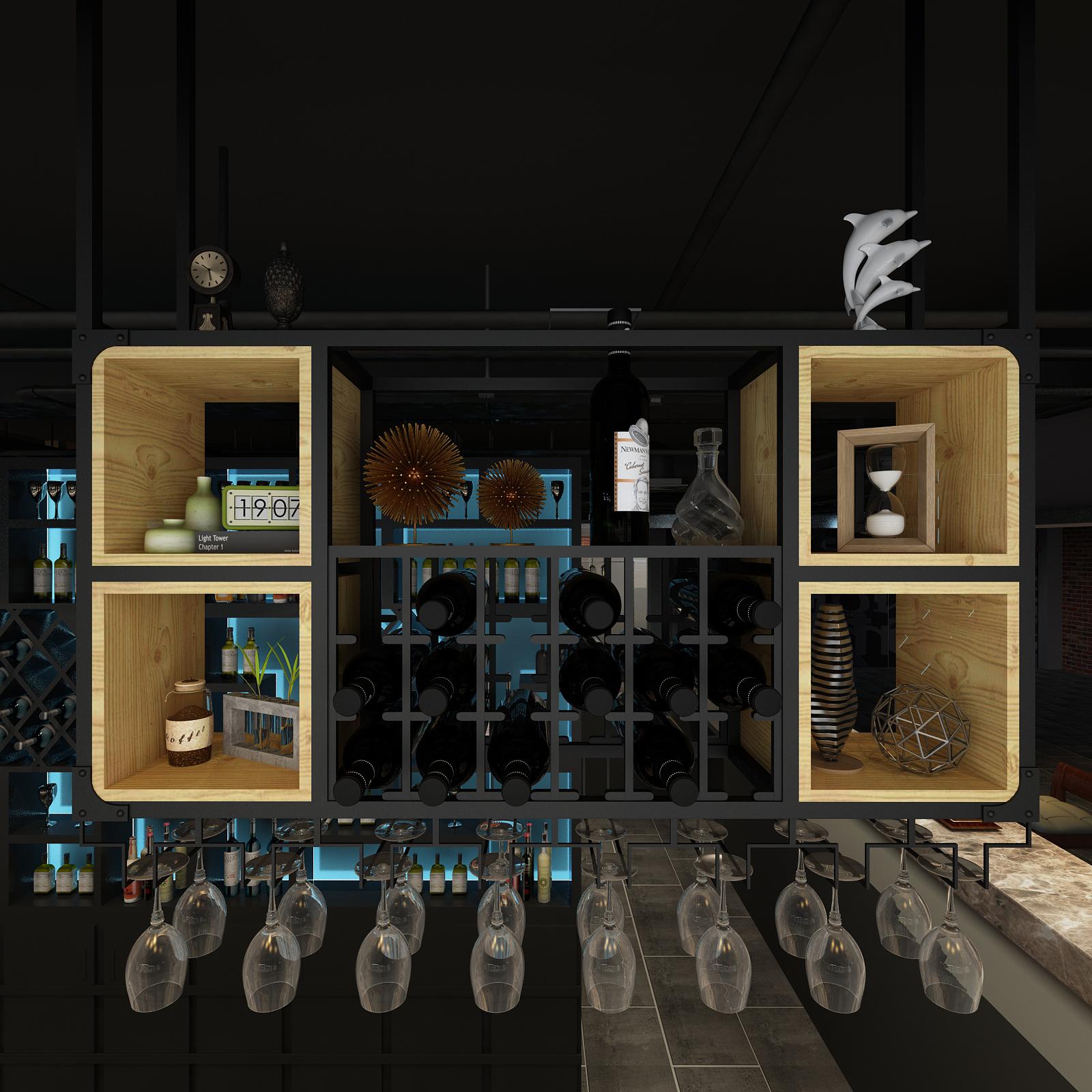 铁艺风置物架壁挂吊顶酒吧台红酒杯实木欧简约装饰定做工业酒柜