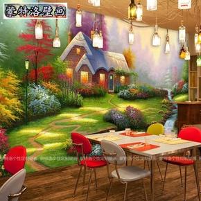 美式田园油画风景墙纸餐厅客厅电视背景墙卧室壁纸无纺布无缝壁画