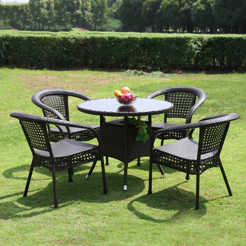 防腐户外遮阳伞桌椅室外休闲阳台上桌椅桌椅组合藤椅茶几花园家具