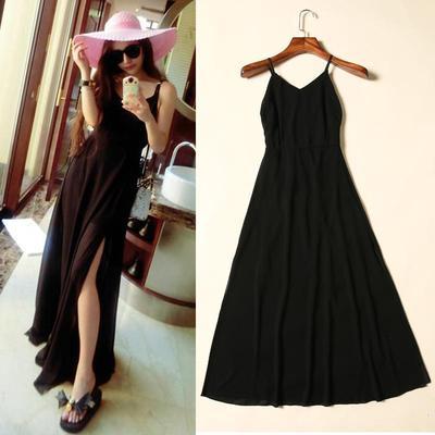 黑白胖妹妹春季新款裙子吊带连衣裙露背学生长裙女式设计超仙拖地