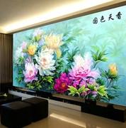 5D客厅钻十字贴钻石绣国色天香花卉方钻满钻牡丹花全贴新款钻石画