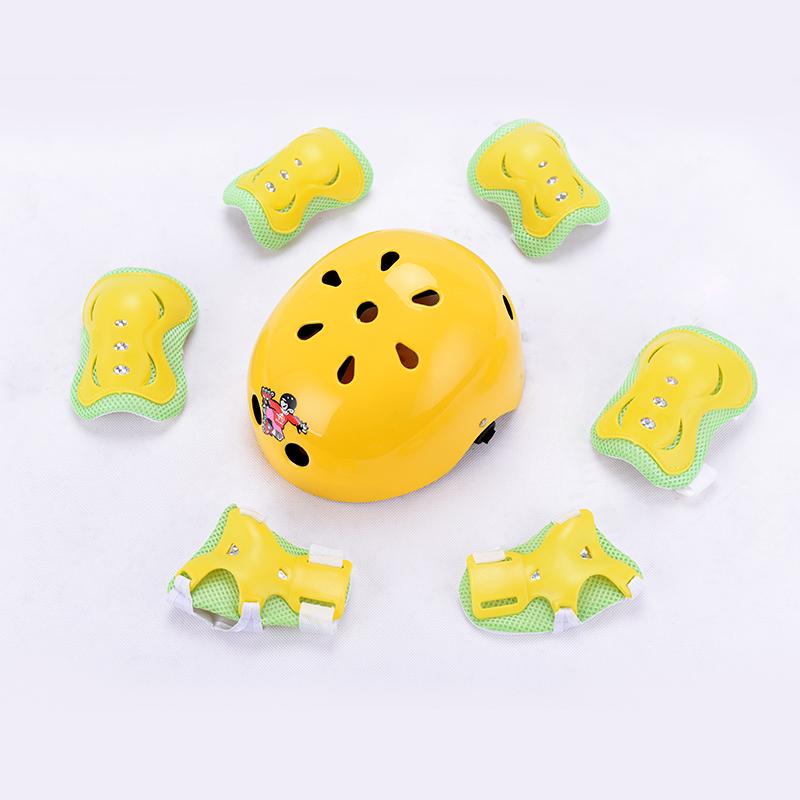 蓝戈林男女儿童轮滑头盔护具套装 滑板车旱冰溜冰鞋护膝7件套