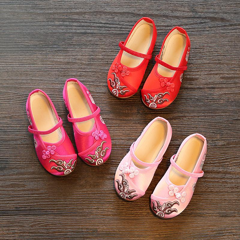 女童古代绣花鞋配汉服袍穿的演出鞋大童少女日常唐装鞋老式布鞋
