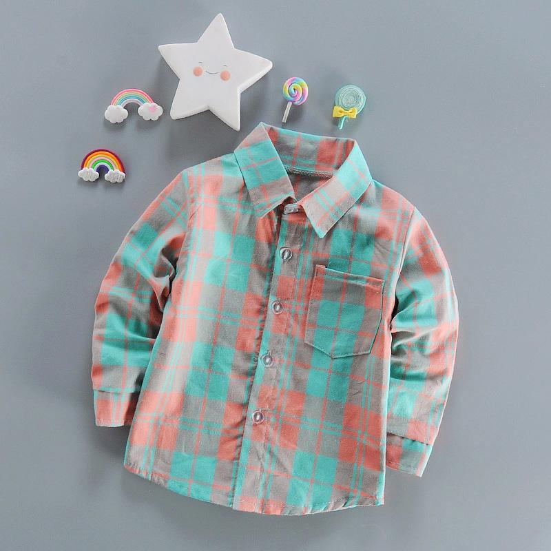男童衬衫衬衣 儿童小童纯棉翻领夏装2017长袖新宝宝格子夏装薄款