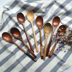 包邮2支送筷子长柄实木勺日式大号吃饭勺汤匙木叉多款木质餐具