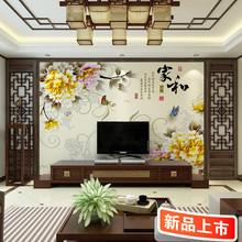 新中式电视背景墙壁画3d立体客厅沙发无纺布墙纸中式家装花鸟简约