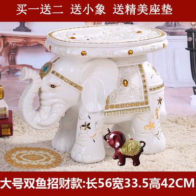 白色招财大象穿鞋凳子大号换鞋座凳家居饰品 欧式客厅摆件装饰品