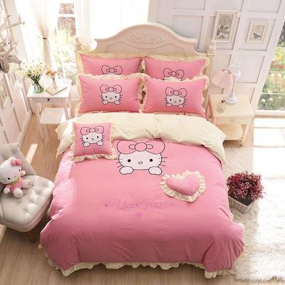 卡通全棉床上四件套单人儿童hollekitty纯棉被套床单三件套