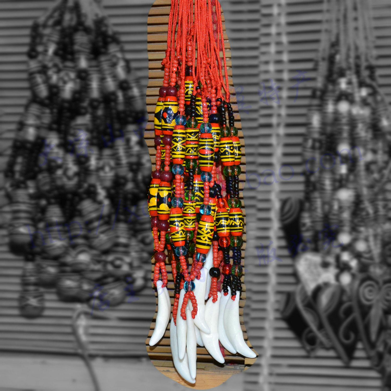 包邮四川大凉山彝族漆器彩绘工艺品民族风格饰品挂件吊牌狗牙项链