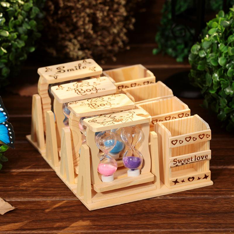 创意木质卡通笔筒旋转沙漏时间桌面装饰小摆件送学生毕业生日礼物