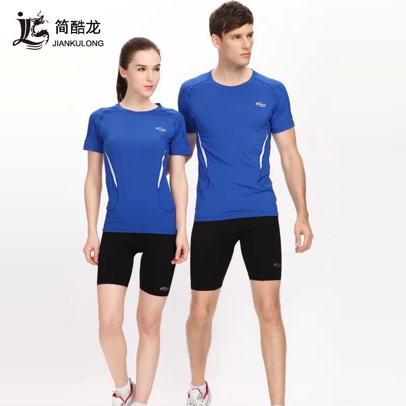 简酷龙弹力紧身田径服套装男女 透气短袖短裤 专业比赛训练运动服