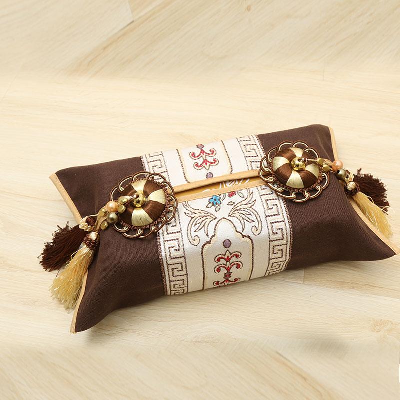 新款布艺纸巾盒中式纸巾盒抽纸巾盒时尚创意卫生抽纸盒