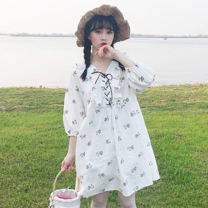 2018夏季新款女装韩版学生宽松显瘦绑带灯笼袖连衣裙打底裙中长裙