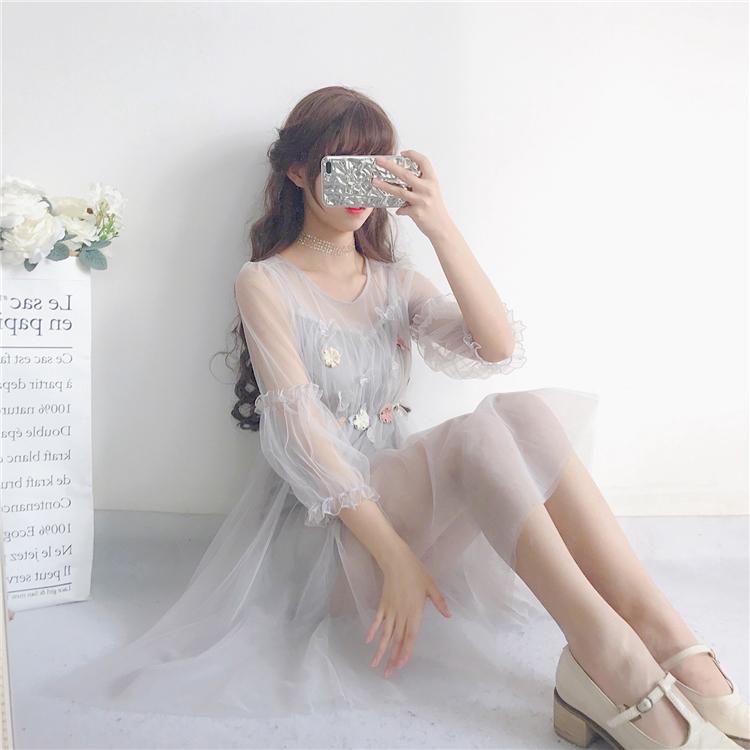 2018夏季新款女装韩版件套中长款灯笼袖两短袖网纱学生连衣裙裙子