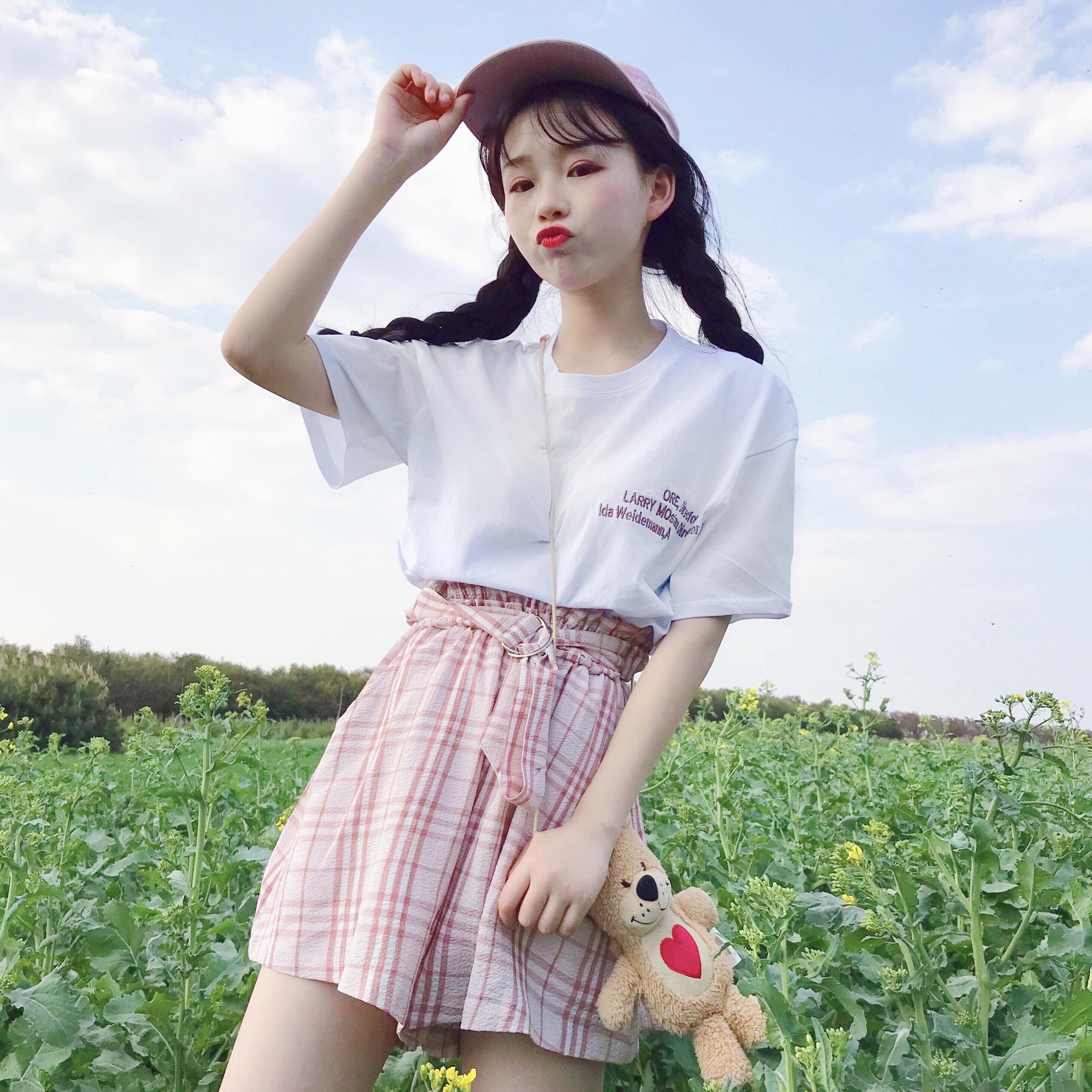 2018夏季新款女装韩版短袖T恤+阔腿裤短裤时尚休闲两件套套装学生