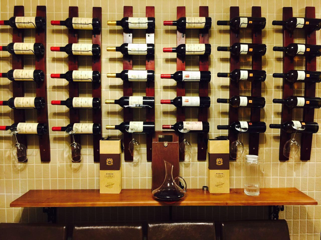 葡萄酒架装饰壁挂式红酒架悬挂墙壁酒架酒柜实木酒吧创意架