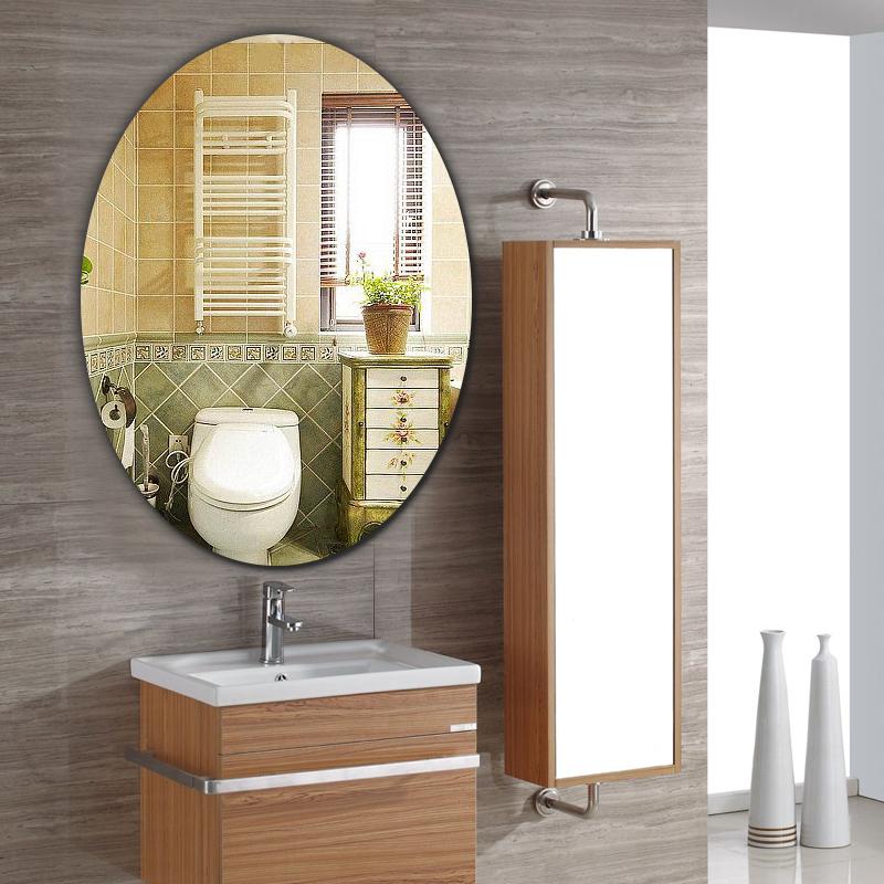 挂墙浴室镜可贴粘贴圆角镜子家用厕所卫生间前下挂镜壁挂式小无框