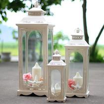 欧式玻璃灯笼浪漫复古铁艺风灯香薰蜡杯婚庆路引酒店道具烛台