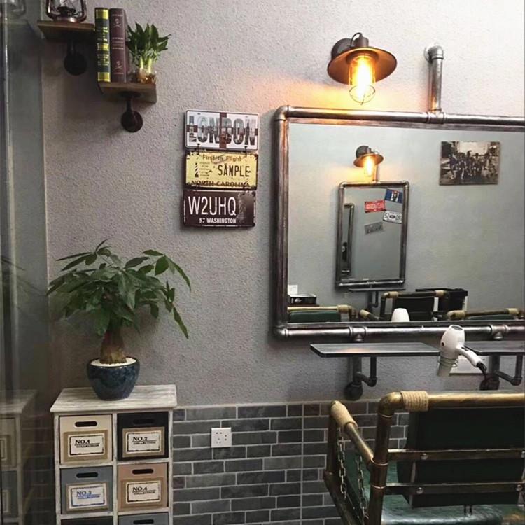 剪发美发镜台铁艺工业风壁挂式单面镜发廊复古落地理发店双面镜台