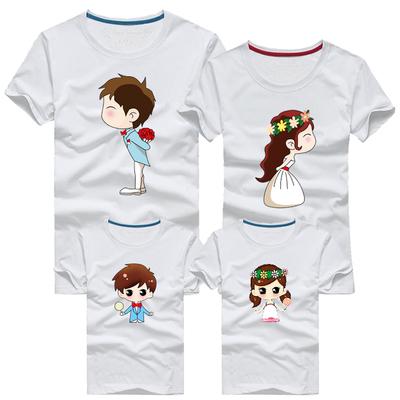 2018新款短袖T恤一家三口四口母女子幼儿园班服装旅游亲子装夏装