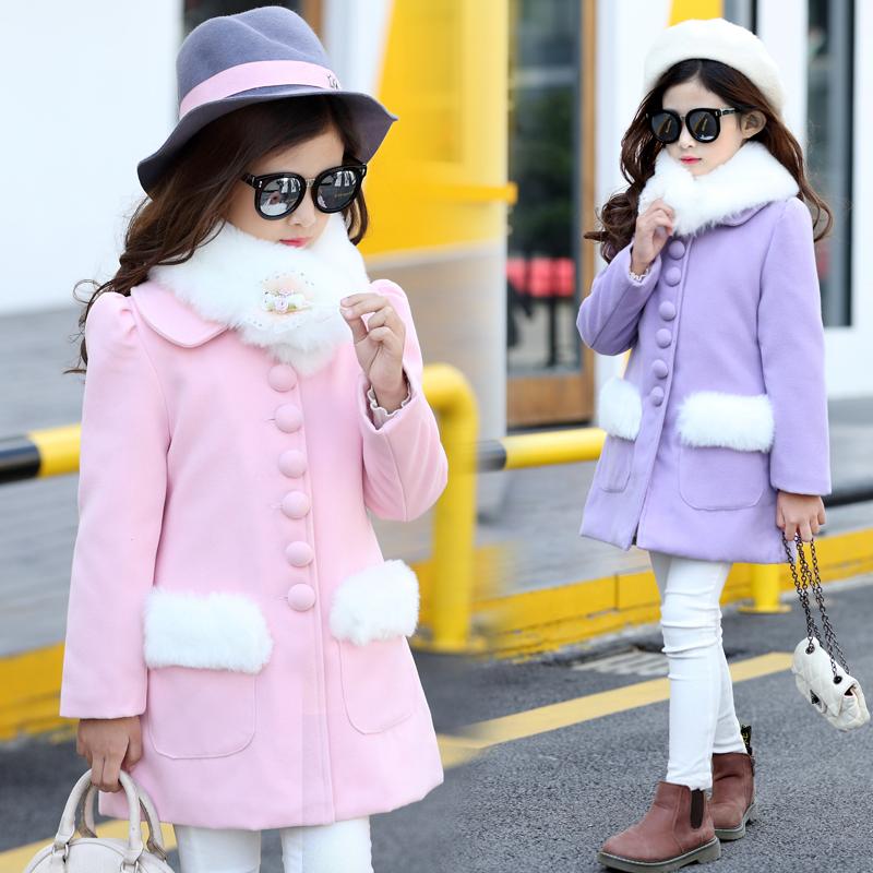 女童毛呢大衣6韩版秋装冬款5-12岁女孩中长款毛领呢子外套风衣9