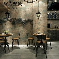 pvc服装店网咖做旧水泥灰裂纹复古工业风浅灰色素色纯色墙纸