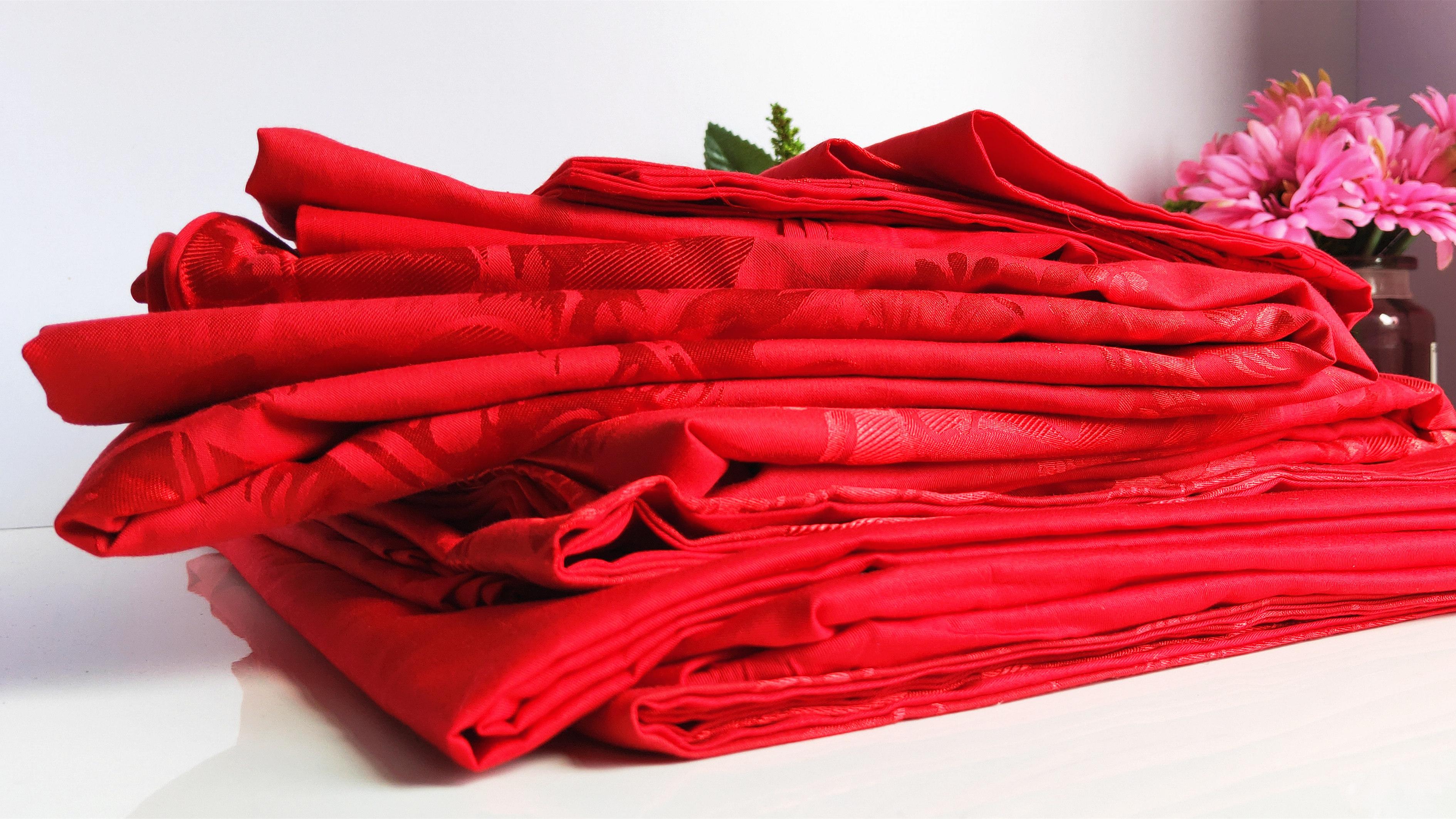 水星家纺婚庆大红结婚六套件