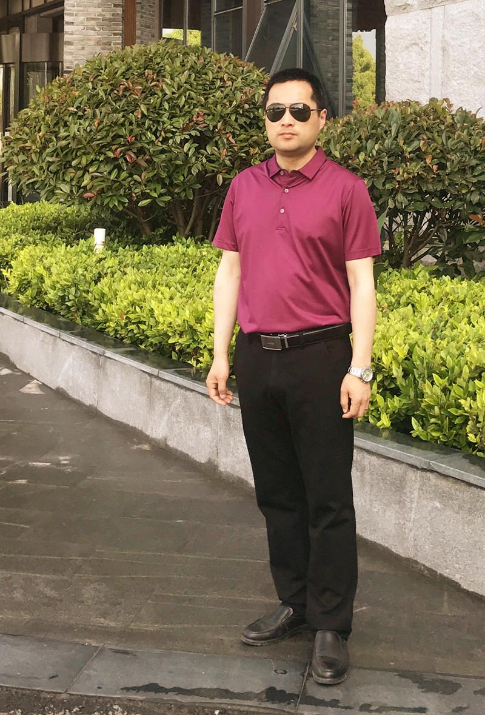 劲霸男士T恤桑蚕丝 净色提花撞色拼接短袖丝光棉T恤