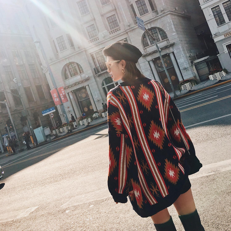 2017秋冬季新款韩版中长款宽松套头chic港味圣诞毛衣裙女复古bf风