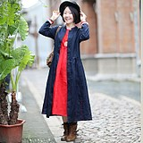 Forget the city of 1125 original palette of literary travel pearl embroidered linen red windbreaker in the long coat woman spring and autumn