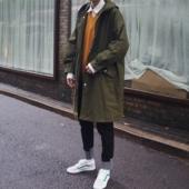 男士 2018新款 外套韩版 风衣秋季中长款 宽松潮流冬季军大衣披风情侣