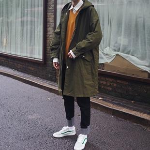 宽松潮流冬季军大衣披风情侣 外套韩版 风衣秋季中长款 男士 2018新款